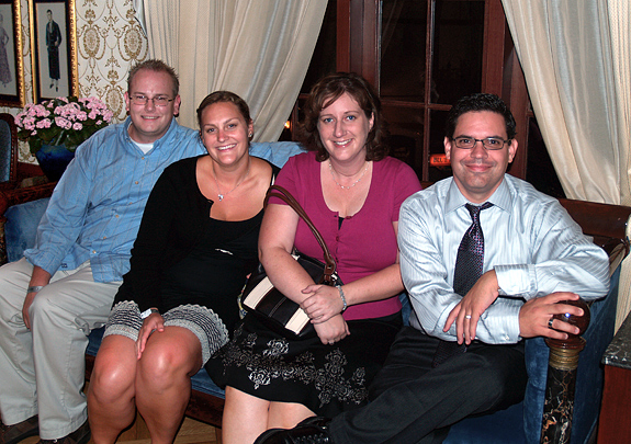 Team Mousetalgia (Dave, Becky, Kristen and Jeff) relaxing at Club 33, above New Orleans Square.